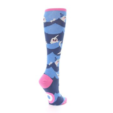 Image of Blue Narwhal Women's Knee High Socks (side-1-back-22)