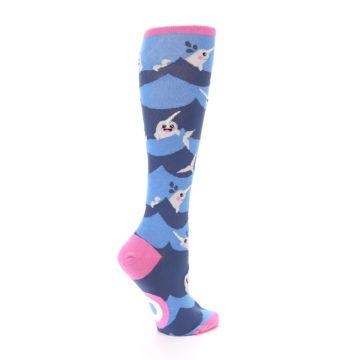 Image of Blue Narwhal Women's Knee High Socks (side-1-23)