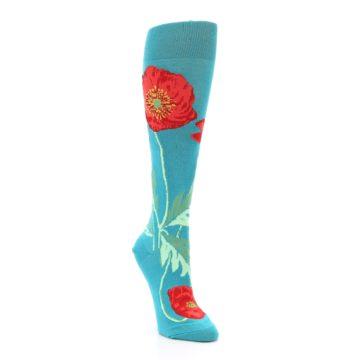 Image of Teal Red Poppy Flower Women's Knee High Socks (side-1-front-02)