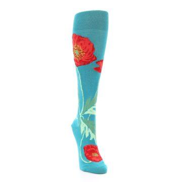Image of Teal Red Poppy Flower Women's Knee High Socks (side-1-front-03)