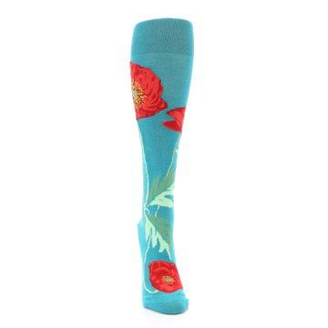 Image of Teal Red Poppy Flower Women's Knee High Socks (front-04)