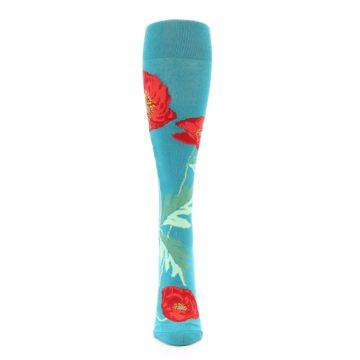 Image of Teal Red Poppy Flower Women's Knee High Socks (front-05)