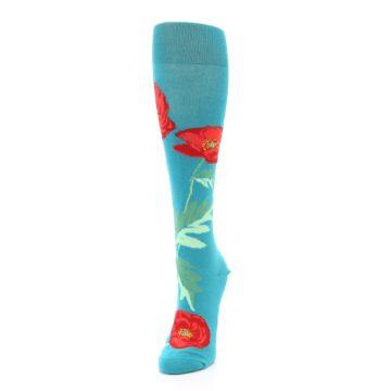 Image of Teal Red Poppy Flower Women's Knee High Socks (side-2-front-07)