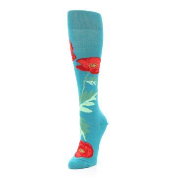 Image of Teal Red Poppy Flower Women's Knee High Socks (side-2-front-08)