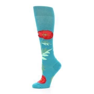 Image of Teal Red Poppy Flower Women's Knee High Socks (side-2-11)