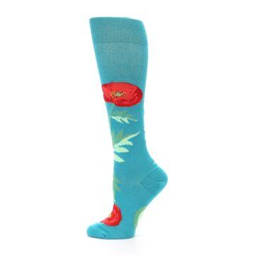 Image of Teal Red Poppy Flower Women's Knee High Socks (side-2-12)
