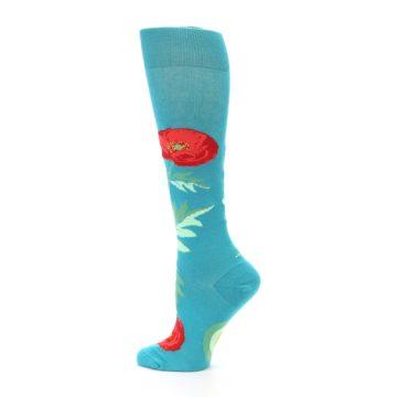 Image of Teal Red Poppy Flower Women's Knee High Socks (side-2-13)