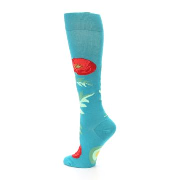 Image of Teal Red Poppy Flower Women's Knee High Socks (side-2-back-14)