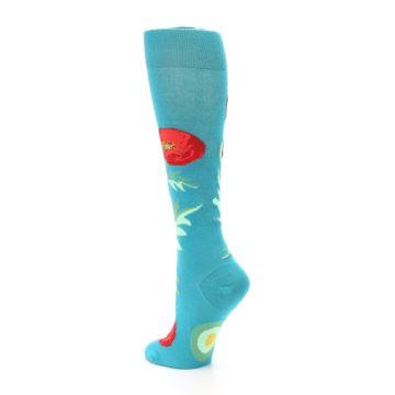 Image of Teal Red Poppy Flower Women's Knee High Socks (side-2-back-15)
