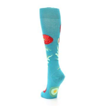 Image of Teal Red Poppy Flower Women's Knee High Socks (side-2-back-16)