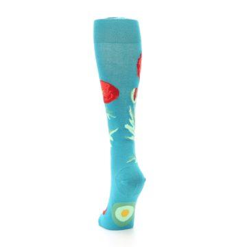Image of Teal Red Poppy Flower Women's Knee High Socks (back-17)