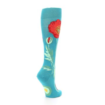 Image of Teal Red Poppy Flower Women's Knee High Socks (side-1-back-22)