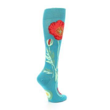 Image of Teal Red Poppy Flower Women's Knee High Socks (side-1-23)