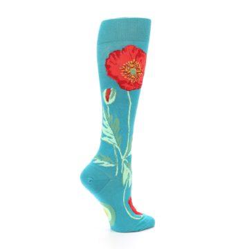 Image of Teal Red Poppy Flower Women's Knee High Socks (side-1-24)