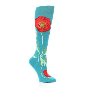 Image of Teal Red Poppy Flower Women's Knee High Socks (side-1-26)