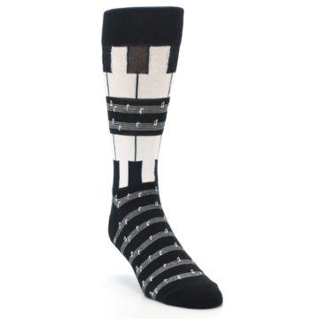 Image of Black White Piano Music Men's Dress Socks (side-1-front-02)
