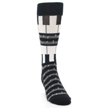 Image of Black White Piano Music Men's Dress Socks (side-1-front-03)
