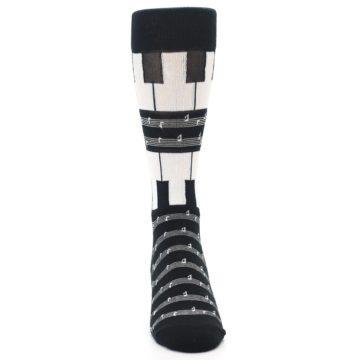 Image of Black White Piano Music Men's Dress Socks (front-04)