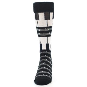 Image of Black White Piano Music Men's Dress Socks (front-05)