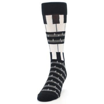 Image of Black White Piano Music Men's Dress Socks (side-2-front-06)