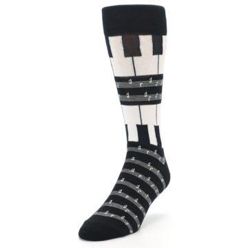 Image of Black White Piano Music Men's Dress Socks (side-2-front-07)