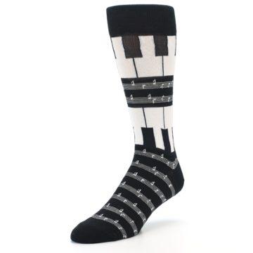 Image of Black White Piano Music Men's Dress Socks (side-2-front-08)