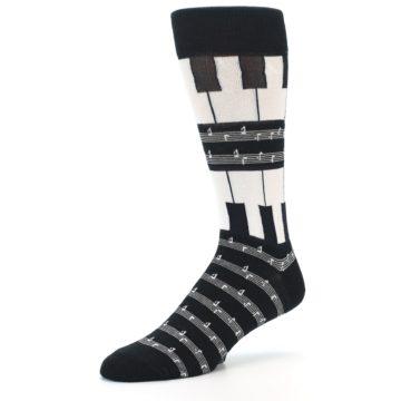 Image of Black White Piano Music Men's Dress Socks (side-2-09)