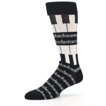 Image of Black White Piano Music Men's Dress Socks (side-2-10)