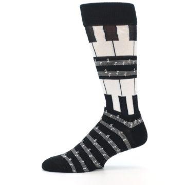 Image of Black White Piano Music Men's Dress Socks (side-2-11)