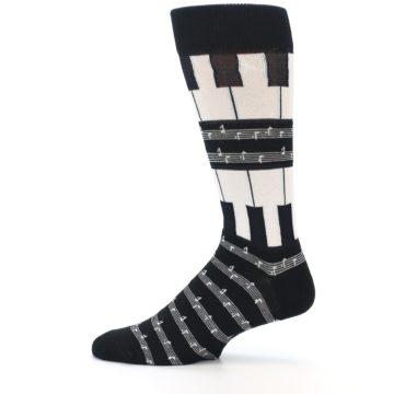 Image of Black White Piano Music Men's Dress Socks (side-2-12)