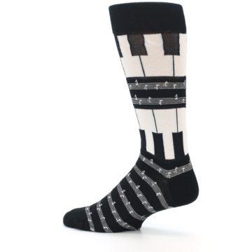 Image of Black White Piano Music Men's Dress Socks (side-2-13)