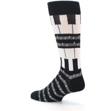 Image of Black White Piano Music Men's Dress Socks (side-2-back-14)