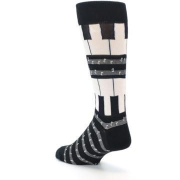 Image of Black White Piano Music Men's Dress Socks (side-2-back-15)