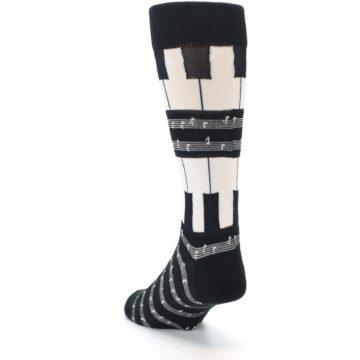 Image of Black White Piano Music Men's Dress Socks (side-2-back-16)