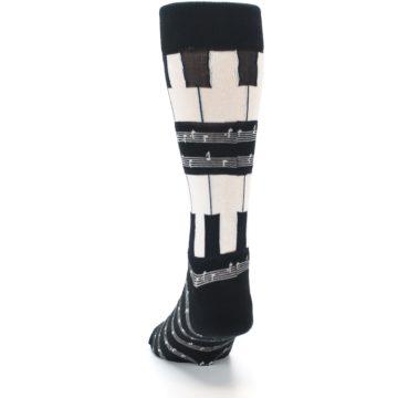 Image of Black White Piano Music Men's Dress Socks (back-17)