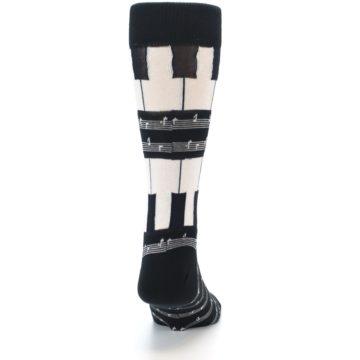 Image of Black White Piano Music Men's Dress Socks (back-19)