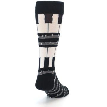 Image of Black White Piano Music Men's Dress Socks (side-1-back-20)