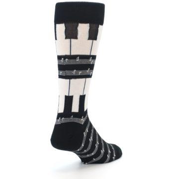 Image of Black White Piano Music Men's Dress Socks (side-1-back-21)