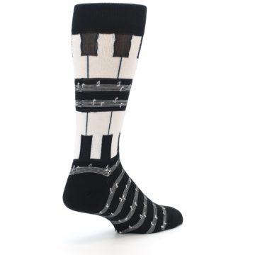 Image of Black White Piano Music Men's Dress Socks (side-1-back-22)