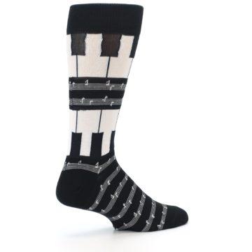Image of Black White Piano Music Men's Dress Socks (side-1-23)