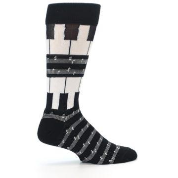 Image of Black White Piano Music Men's Dress Socks (side-1-24)