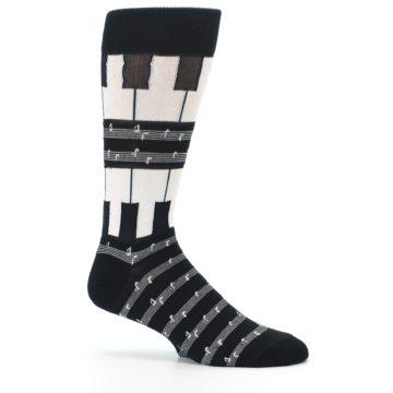 Image of Black White Piano Music Men's Dress Socks (side-1-25)