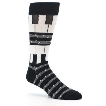 Image of Black White Piano Music Men's Dress Socks (side-1-26)