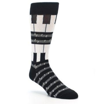 Image of Black White Piano Music Men's Dress Socks (side-1-27)