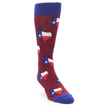 Image of Red Blue Texas State Men's Dress Socks (side-1-front-02)