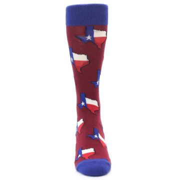 Image of Red Blue Texas State Men's Dress Socks (front-04)