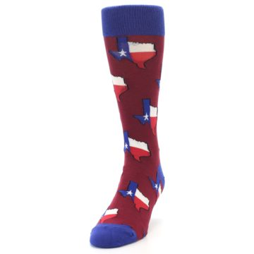 Image of Red Blue Texas State Men's Dress Socks (side-2-front-06)