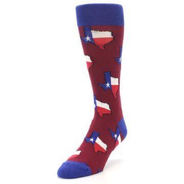 Image of Red Blue Texas State Men's Dress Socks (side-2-front-07)