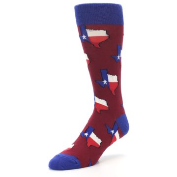 Image of Red Blue Texas State Men's Dress Socks (side-2-front-08)