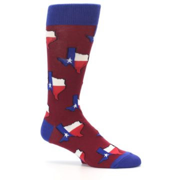 Image of Red Blue Texas State Men's Dress Socks (side-1-25)